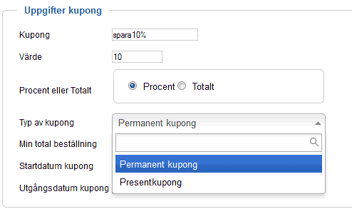 VirtueMart manual - Skapa Kupong
